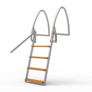 Badstege, 4-steg, 100cm, Uppfällbar, Rostfri Syrafast 316 (för saltvatten)
