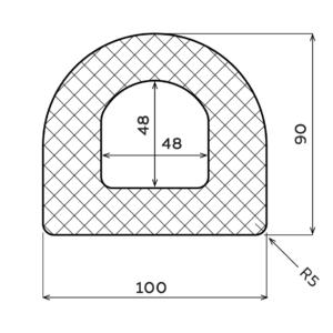 D-Fender Gummi , 100 x 90 x 3000 mm.